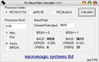 PIC Baudrate calculator screenshoot